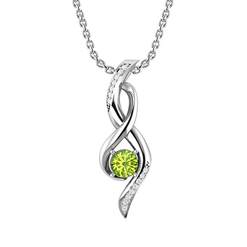 Sterling Silver Infinity Pendant Necklace with 6mm Round Shape 0.90carat Peridot and 18 inch Singapore Chain for Women, Rhodium Plated High Polish Infinity Pendant