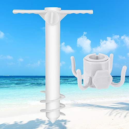 Simchoco Sand Anchor, Beach Umbrella Sand Anchor & Hanging Hook One Size Fits All Safe Stand Holder for Strong Wind with 3-Tier Screw