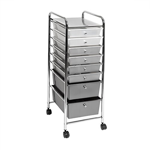 Seville Classics 8-Drawer Storage Bin Organizer Cart, White/Gray/Black Gradient