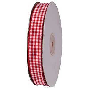 ATRibbons 50 Yards 5/8 Inch Wide Checked Ribbon Polyester Gingham Ribbon for Gift Wrapping,Hair Bows and Craft (Red)