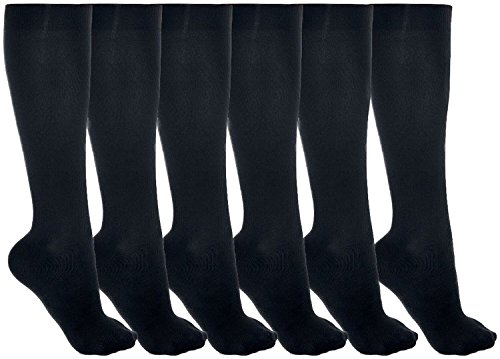 6 Pairs Women's Thigh-High Stockings Knee Nylon Long Over knee Socks (Black, 45cm) from SIDAZHI