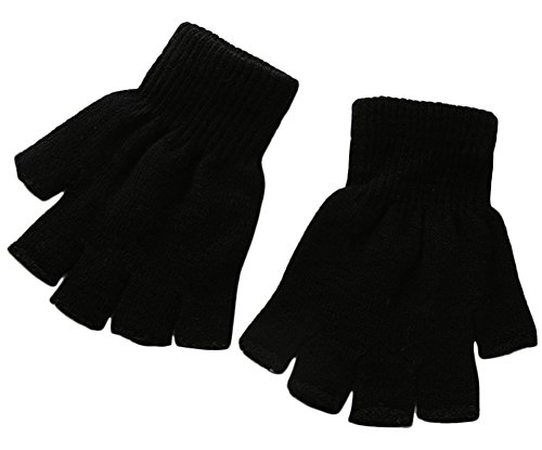 [X&F Boys' and Girls' Solid Knitted Half Finger Mittens Typing Gloves, Small, Black] (Black Girls Gloves)