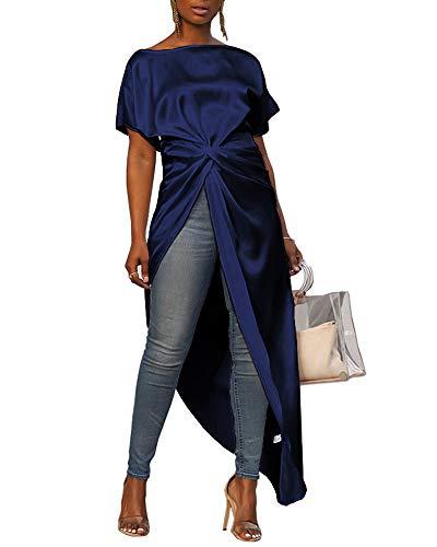 MS Mouse Womens Irregular Hem T-Shirt Dress Summer Casual Chic Top Long Blouses XL Deep Blue ()