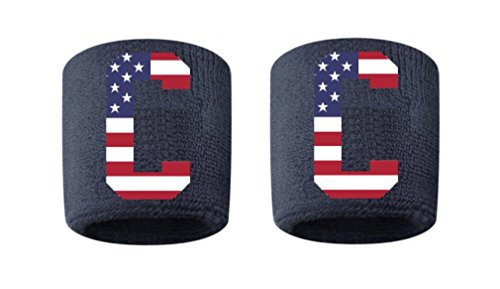 - Captain Patch Embroidered/Stitched Sweatband Wristband NAVY BLUE Sweat Band with USA AMERICAN FLAG C (2 Pack)