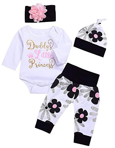 Cute 4PCs Newborn Kids Baby Girl Daddy Little Princess Romper + Flowers Pants + Hat + Flower Headband Winter Outfit White
