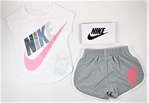Nike Girls Graphic-Print T-Shirt & Shorts 2 Piece Set (Dark Grey Heather(16E471-042)/White, 12 Months)