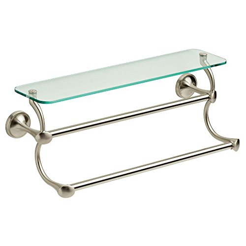 Delta 18 in. Glass Bathroom Shelf with Double Towel Bar in SpotShield Brushed (18 Dual Towel Bar)