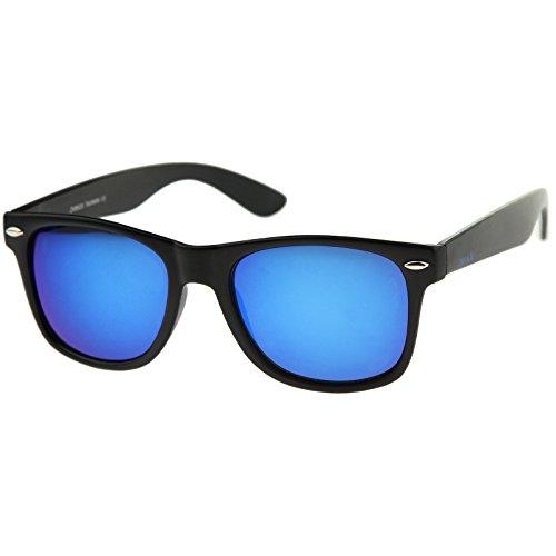 - zeroUV - Retro 80's Classic Colored Mirror Lens Square Horn Rimmed Sunglasses for Men Women (Matte/Blue)