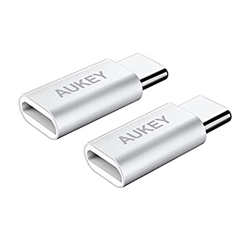AUKEY USB-C Adapter Type-C to Micro USB Adapter Aluminum (2 Pack) for MacBook Pro, Nexus 6P 5X, Google Pixel, LG G5 and - 2 Micro Usb
