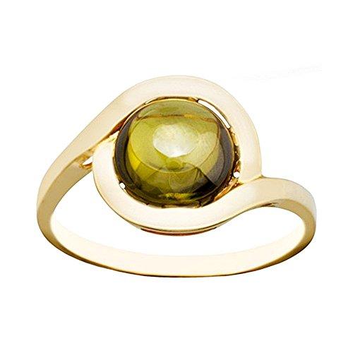 Bague 18k centre d'or pierre olivine [AA6754]