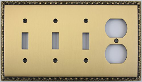 Egg & Dart Antique Brass 4 Gang Combo Switch Plate - 3 Toggle Light Switches 1 Duplex Outlet