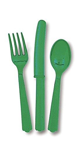 Unique Party Cubiertos de plástico para 6, Color Verde ...