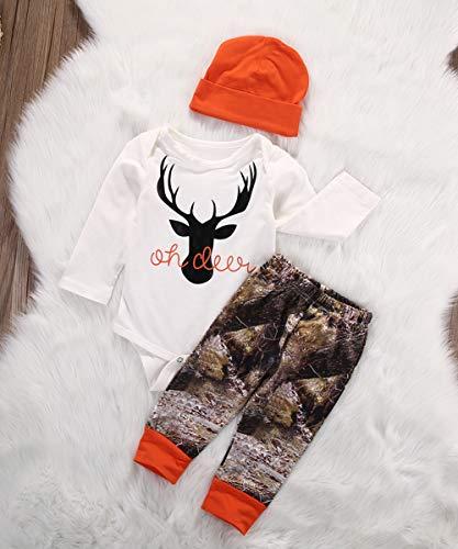 Geagodelia Set di Abbigliamento per Bambini Neonato 3 Pezzi Completi Pagliaccetto Pantaloni Cappello Autunno Inverno 2