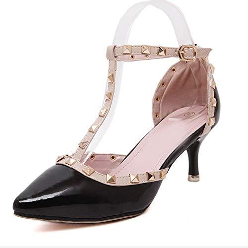 Tacón Aumento Señoras Puntiagudas Alto Hebillas Stiletto De Black Zapatos Mujer Los Sandalias 6XqWxAXfR