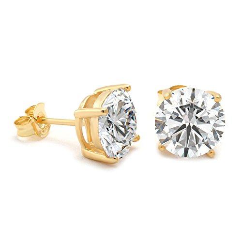GuqiGuli 14k Yellow Gold Plated Screwback 6mm Round CZ Created Diamond Stud Earrings in Sterling Silver for Women and Men