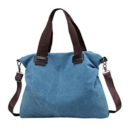 STRIR Bolsos de Mujer Bolso de Hombro-Vintage Bolso Hombro Grandes Multifuncional Lona Bolsos para Mujer Azul