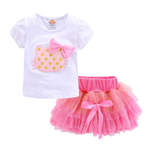 Mud Kingdom Toddler Girl Outfit Pink Cat Summer 24 Months