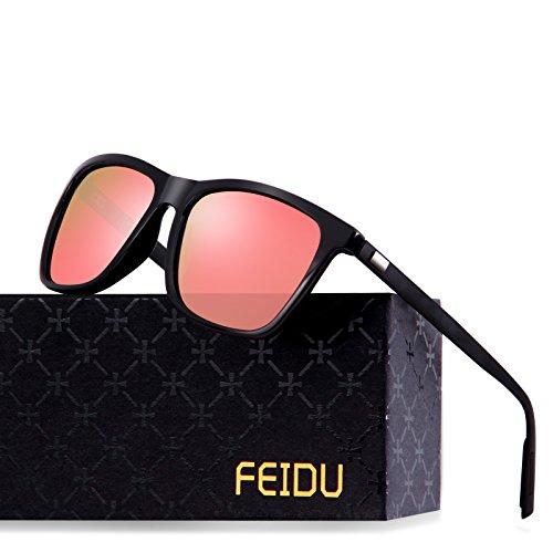 FEIDU Classic Polarized Wayfarer Sunglasses for Men Mirror Eyewear Unisex FD9003 (Pink, 2.24) (Wayfarer Classic)