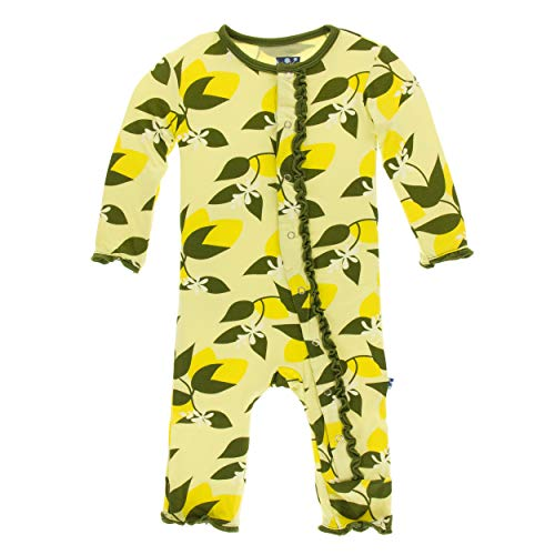 Kickee Pants Little Girls Print Muffin Ruffle Coverall with Snaps - Lime Blossom Lemon Tree, 6-9 Months