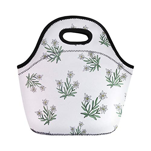 Semtomn Lunch Bags Pattern Black Alpine Edelweiss Flower Silver Austria Beauty Blossom Neoprene Lunch Bag Lunchbox Tote Bag Portable Picnic Bag Cooler Bag