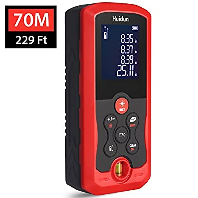 131.2F and 229.6 Ft Digital Laser Distance Meter with Mute Function Large LCD Backlight Display Measure Distance, Area and Volume, Pythagorean Mode Battery