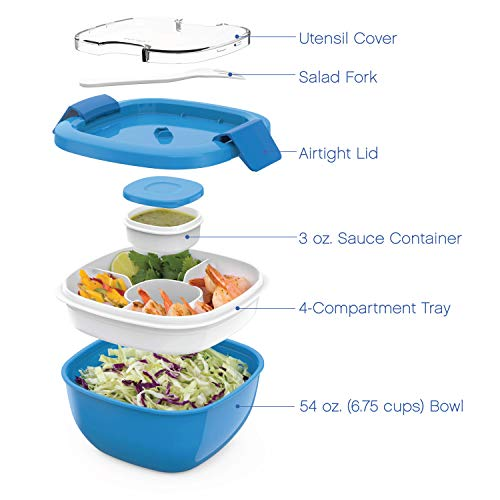 Bentgo Salad BPA-Free Lunch Container with Large 54-oz Salad Bowl, 4-Compartment Bento-Style Tray for Salad Toppings and Snacks, 3-oz Sauce Container for Dressings, and Built-In Reusable Fork (Blue)