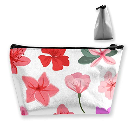 (FJSLIE Azalea Flowers Pattern Women Makeup Bags Multi Function Toiletry Organizer Bags,Hand Portable Pouch Travel Wash Storage Capacity with Zipper(Trapezoidal))