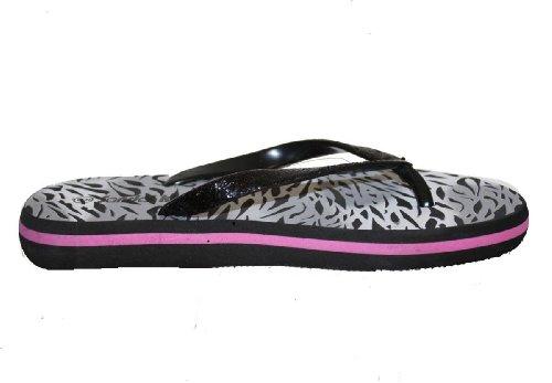 Sandalias Casual Beach Flip Flop Tanga Con Estampado De Cebra / Correas De Brillo Negro