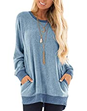 iChunhua Womens Sweatshirts Long Sleeve Baggy Blouses and Tops Sky Blue XX-Large