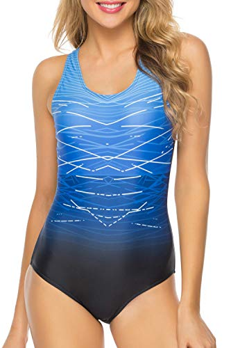 RIGHR Women's Athletic One Piece Swimsuit Sport Racerback Swimwear ()