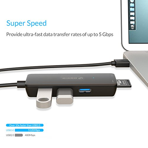 ORICO SuperSpeed USB 3.0 Hub with Built-In TF & SD Card Reader to 5 Gbps - High Speed External Memory Card Reader and USB Expander - Black by ORICO (Image #2)