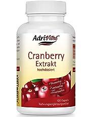AdriVital Cranberry capsules hoog gedoseerd, van extract 25:1 komt overeen met 10.000 mg pure vrucht per capsule, veganistisch, glutenvrij, lactosevrij, 120 capsules