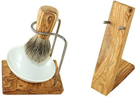 Designer Luxus Rasierset 4tlg aus hochwertigem Olivenholz - Rasierpinselhalter + Rasierschale aus Porzellan + Rasierpinsel Dachshaar + Rasierer Halter