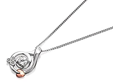 Clogau 925 Sterling Silver and 9ct Rose Gold Tree of Life Flower Pendant on a Chain of 56cm Z34B5W7