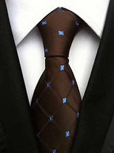 (Jacob AleX #47077 Novelty Geometric Brown Blue JACQUARD WOVEN Silk Men's Tie)