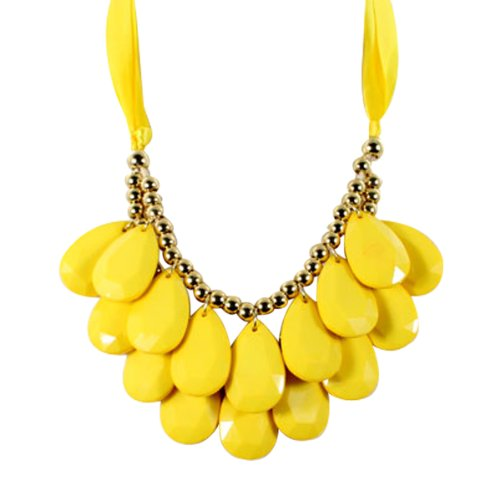 Wrapables Double Layer Chunky Acrylic Teardrop Bib Necklace, Yellow