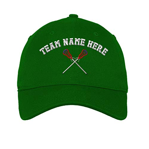 Custom LowProfileSoft Hat Lacrosse Sports D Embroidery Team Name Cotton Dad Hat Flat Solid Buckle - Kelly Green, Personalized Text Here
