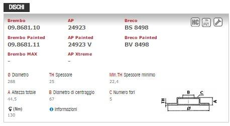 p50057 Brembo disques et plaquettes de frein avant 09.8681.11/