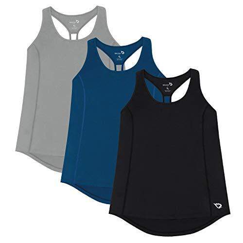 Baleaf Women's Yoga Shirts Workout Tank Tops Athletic Racerback Tank Black/Navy/Grey ()