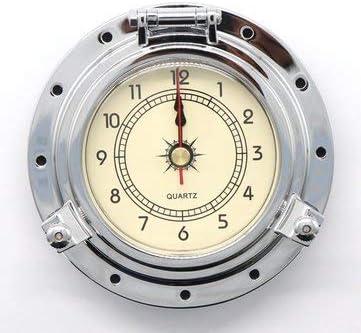 JenNiFer Reloj De Cuarzo Retro Vintage Romano De Latón para Autocaravana Caravana Autocaravana - Cromo