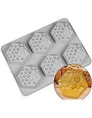 6 Holes Bee Honeycomb Pattern Silicone Fondant Soap Molds, DIY Bakeware Pan Cake Moulds Sweet Cupcake Chocolate Making Mold Handmade Fondant Cake Decorating Tool Baking Mould