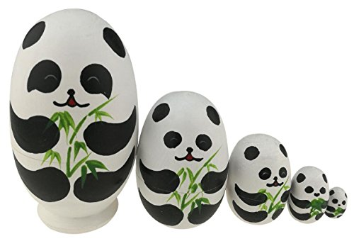 Winterworm Cute Egg Shape Animal Theme Handmade Wooden Russian Nesting Dolls Matryoshka Dolls Set 5 Pieces for Kids Toy Birthday Christmas Easter Gift Home Decoration-Panda