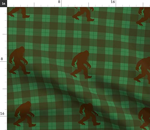 Bigfoot Fabric - Plaid Myth Woodland Pacific Northwest Mythical Cryptozoology Sasquatch Buffalo Print on Fabric by the Yard - Organic Cotton Knit for Baby Blankets Clothing Apparel T-Shirts