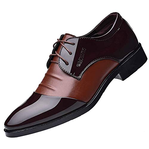 Boomboom British Style Leather Pointed Toe Formal Wedding Men's Shoes(B-Brown,US 8)