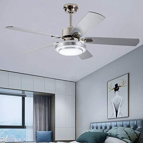 Andersonlight Fan 48 LED Indoor Stainless Steel Ceiling Fan with Light and Remote Control