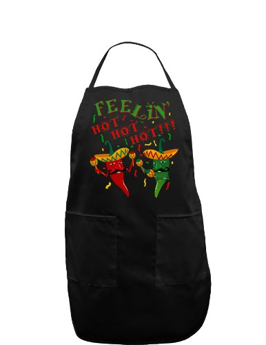 (Feelin Hot Hot Hot Chili Peppers Dark Adult Apron - Black - One-Size)