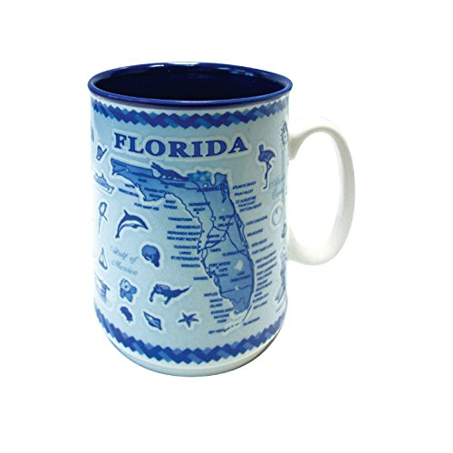 Mug Florida Souvenir Blue Map Embossed Ceramic Coffee Mug Tea Cup 11 oz (Florida)