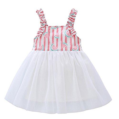 90 S Dress (Baby Girls Dress BOBORA Print Sleeveless Tulle Tutu Sundress (S/2-3Y/90, Pink))