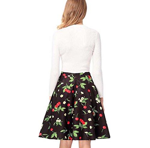 Haute pour Taille XIAOXAIO Taille Noir Couleur Femme M plisse Jupe TqE144
