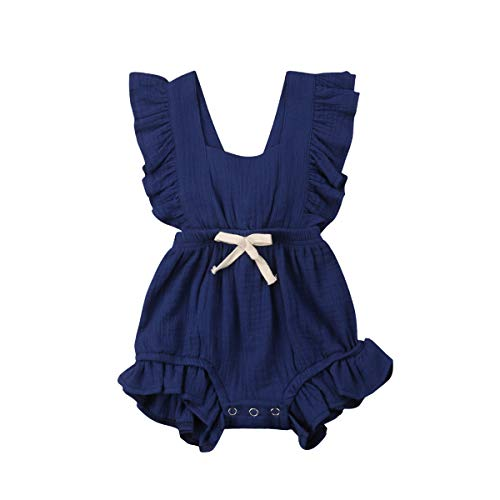 Infant Newborn Baby Girl Romper Ruffle Bowknot Bodysuit Jumpsuit Outfit Clothes Summer Blue/18-24M